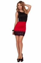 Sleeveless Empire Waist Leatherette Lace Fitted Bodycon Ponte Party Classy Dress