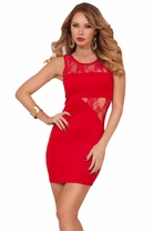 Sleeveless Lace Panel Asymmetrical Mini Party Cocktail Fitted Sexy Hot Dress