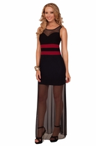 Sleeveless Mesh Strap Sheer Back High Contrast Color Block Evening Maxi Dress