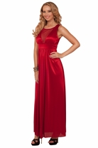 Sleeveless Scoop Neck Mesh Panel V-Neck Illusion Style Evening Long Maxi Dress