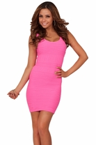 Sleeveless Sexy Seamless Short Mini Fitted Bodycon Tight Party Textured Dress