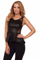 Sleeveless Sheer Mesh Leatherette Faux Leather Peplum Edgy Party Club Sexy Top