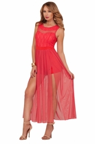 Sleeveless Sweetheart Lace Mesh Panel Silt Empire Waist Full Length Gown Dress