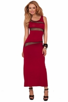 Sleeveless Tank Straps Scoop Neck Sheer Panel Sexy Sensual Party Maxi Long Dress