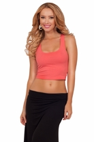 Sleeveless Tank Style Razor Back Fitted Cropped Midriff Casual Sexy Chic Top