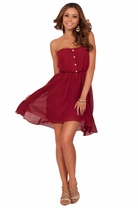 Sleeveless Tube Top Button Down Flowy Party Empire Waist Sweetheart Style Dress