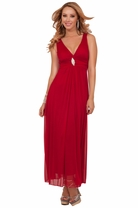 Sleeveless V-Neck Padded Empire Waist Gathered Rhinestone Maxi Gown Long Dress