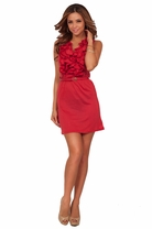 Sleeveless V-Neck Ruffle Accented Belted Holiday Chic Mini Cockatil Dress