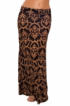 Slimming Fashionable Fitted Boho Printed Light Flare Summer Beach Long Skirt