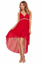 Spaghetti Strap Beaded Empire Waist High Low Bridesmaid Homecoming Flowy Dress