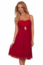 Spaghetti Strap Crystal Pleated Padded Bust Empire Waist Rhinestone Broche Dress