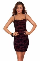 Spaghetti Strap Lace Floral Fitted Mini Cocktail Bodycon Bustier Party Dress