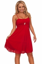 Spaghetti Strap Pleated Rhinestone Accent Sweetheart Elegant Flowy Party Dress