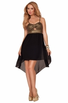 Spaghetti Strap Sweetheart Center Bow Scrunch Keyhole Metallic High Low Dress