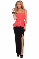 Spaghetti Strap Sweetheart Peplum Solid Bottom Chic Side Slit Evening Maxi Dress