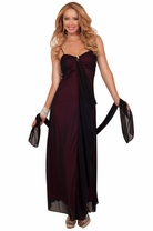 Spaghetti Strap Sweetheart Two-tone Rhinestone Waterfall Style Shawl Long Dress