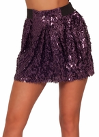 Sparkly Sequin High Waisted Elastic Waist Band Party Clubwear Mini Skirt