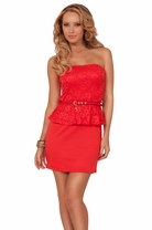 Straight Neck Line Padded Bust Floral Lace Peplum With Skinny Charmed Belt Dress