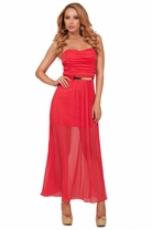 Straight Neck Strapless Ruched Empire Waist Tube Sheer Panel Hot Long Maxi Dress