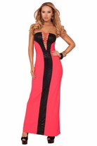 Straight Neck Strapless Tube Style Ripped Design Leatherette Party Maxi Dress