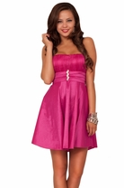 Strapless A-Line Lover Flirty Fit and Flare Chic Dress with Sheer Fun Layer