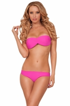 Strapless Bandeau Laser Cut Design Ruffle Pads Low Rise Bottom Two Piece Bikini