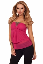 Strapless Bandeau Style Ethnic Broche Embellishment Drop Flow Blouse Tunic Top