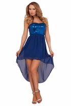 Strapless Bow Sequin Sweetheart High Low Evening Special Occassion Party Dress