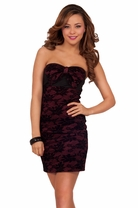 Strapless Fitted Floral Lace Tube Cocktail Party Mini Fitted Bow Detail Dress