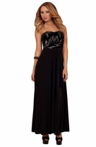 Strapless Fur Sequins Maxi Formal Empire Waist Special Ocassion Sexy Party Dress