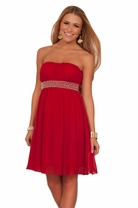 Strapless Junior Pearl Beaded Empire Waist Homecoming Dance Prom Party Dress