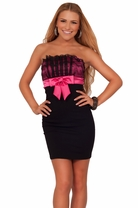 Strapless Junior Tube Lace Fitted Homecoming Prom Bow Party Dance Teen Dress