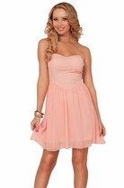Strapless Padded Sweetheart Empire Waist Princess Cut Glittered Short Mini Dress