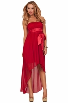 Strapless Padded Sweetheart Gathered Satin Empire Waist High Low Formal Dress