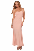 Strapless Padded Sweetheart Neckline Dainty Flare Hidden Zipper Long Maxi Dress