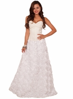 Strapless Removable Halter Wedding Dress Full Length Floral Skirt Bridal Gown