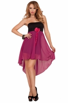 Strapless Rose Accent High Low Sheer Flowy Homecoming Formal Sweet Party Dress