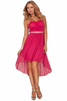 Strapless Ruched Empire Waist Crystal Bead Embellished Bridesmaid High Low Dress