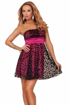 Strapless Semi Sweetheart Empire Waist Princess Style Polka Dot Party Mini Dress
