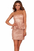 Strapless Sequined Peplum Mini Holiday Formal Chic Trendy Cocktail Dress