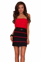 Strapless Straight Neck Drop Waist Blouson Fitted High Contrast Bottom Dress