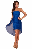 Strapless Straight Neckline Formal Hi Low Ruched Sheer Layer Sequin Accent