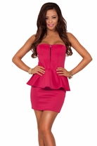 Strapless Sweetheart Bust Waist Ruffle Evening Party Cocktail Peplum Short Dress