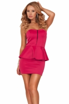 Strapless Sweetheart Bust Waist Ruffle Sexy Party Cocktail Peplum Short Dress