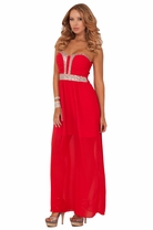Strapless Sweetheart Elegant Sequins Embellished Empire Waist Long Maxi Dress