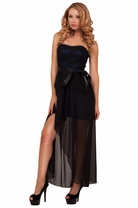 Strapless Sweetheart Lace Satin Bow Sheer Back Panel Sexy Party High Low Dress
