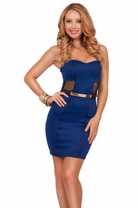 Strapless Sweetheart Leatherette Lining Mesh Panels With Belt Party Short Dress