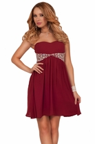 Strapless Sweetheart Rhinestone Empire Waist Flowy Cocktail Bridesmaids Dress