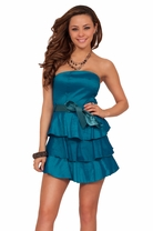 Strapless Tiered Ruffle Cocktail Ribbon Bow Fitted Bust Evening A Line Dress
