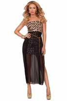 Strapless Tube Fitted Mini Bodice Sheer Long Layer Slit Evening Party Maxi Dress